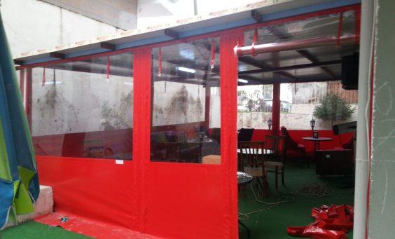 şeffaf sigara içme odası brandası